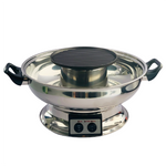 Electric Hotpot Steamboat with BBQ Grill, Glass Lid and Handles 4L by London Wok
