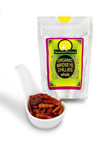 Organic Dried Whole Birds Eye Chillies 15g by Seasoned Pioneers