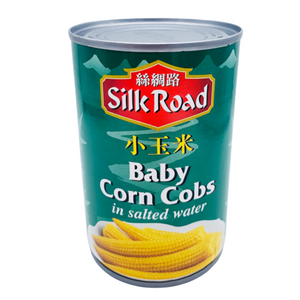 Young Baby Corn in Salted Water 410g Tin by Silk Road