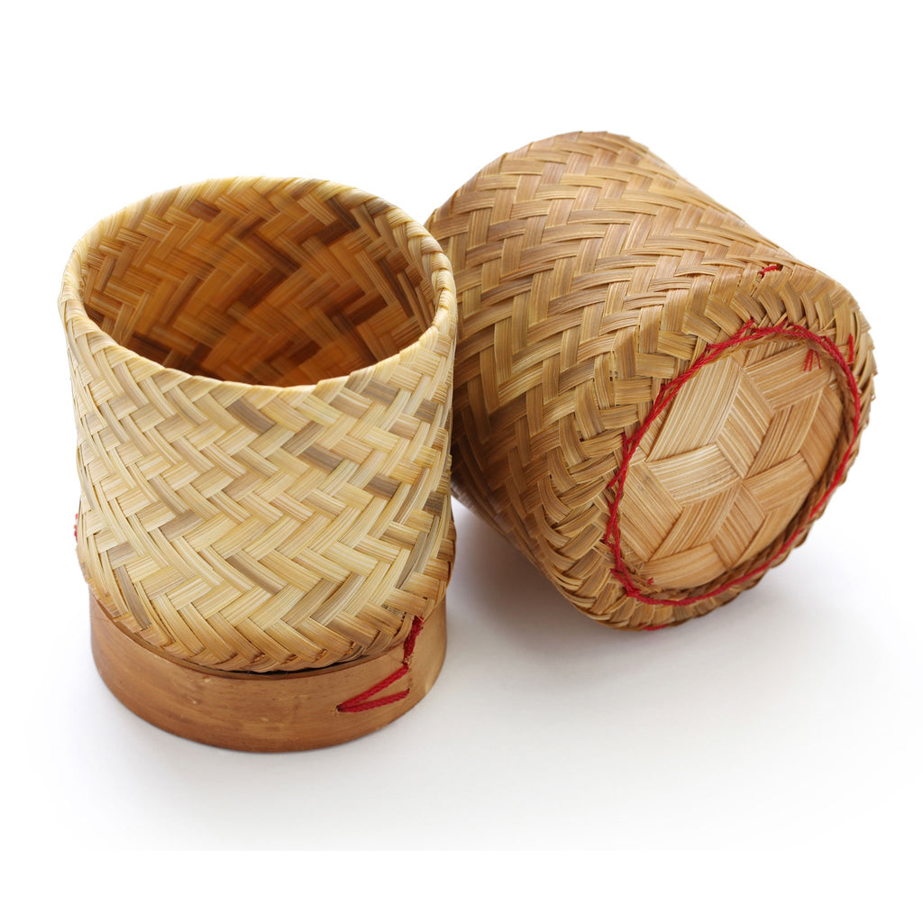 "5"" Thai Bamboo Sticky Rice Container Holder Basket"