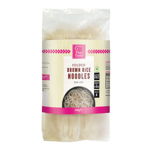 Thai Folded Brown Rice Noodles (Sen Lek) 200g by Thai Taste