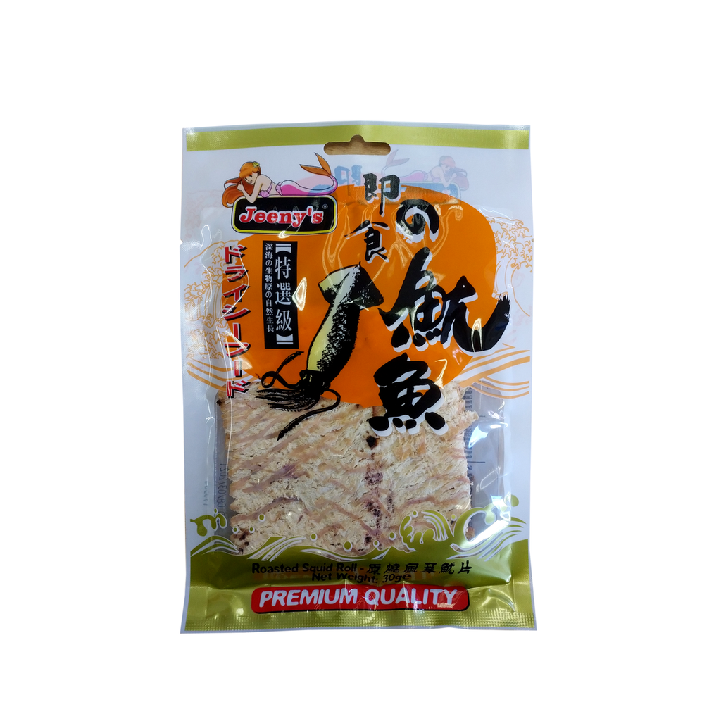 Roasted Squid Roll Seafood Snack 30g by Jeeny's