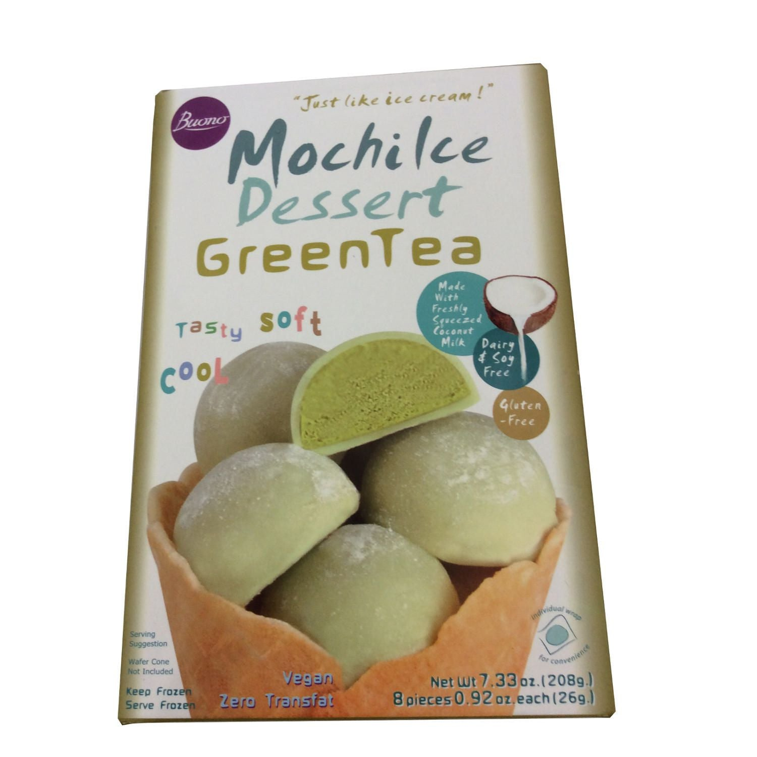 Frozen Mochi Ice Cream Dessert - Green Tea Flavour (Dairy Free) 6 x 26g by Buono