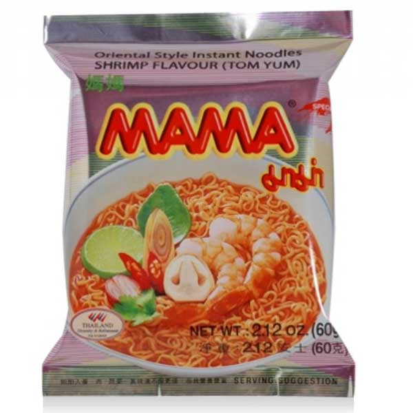 Tom yum (shrimp) instant noodles (60g) by Mama