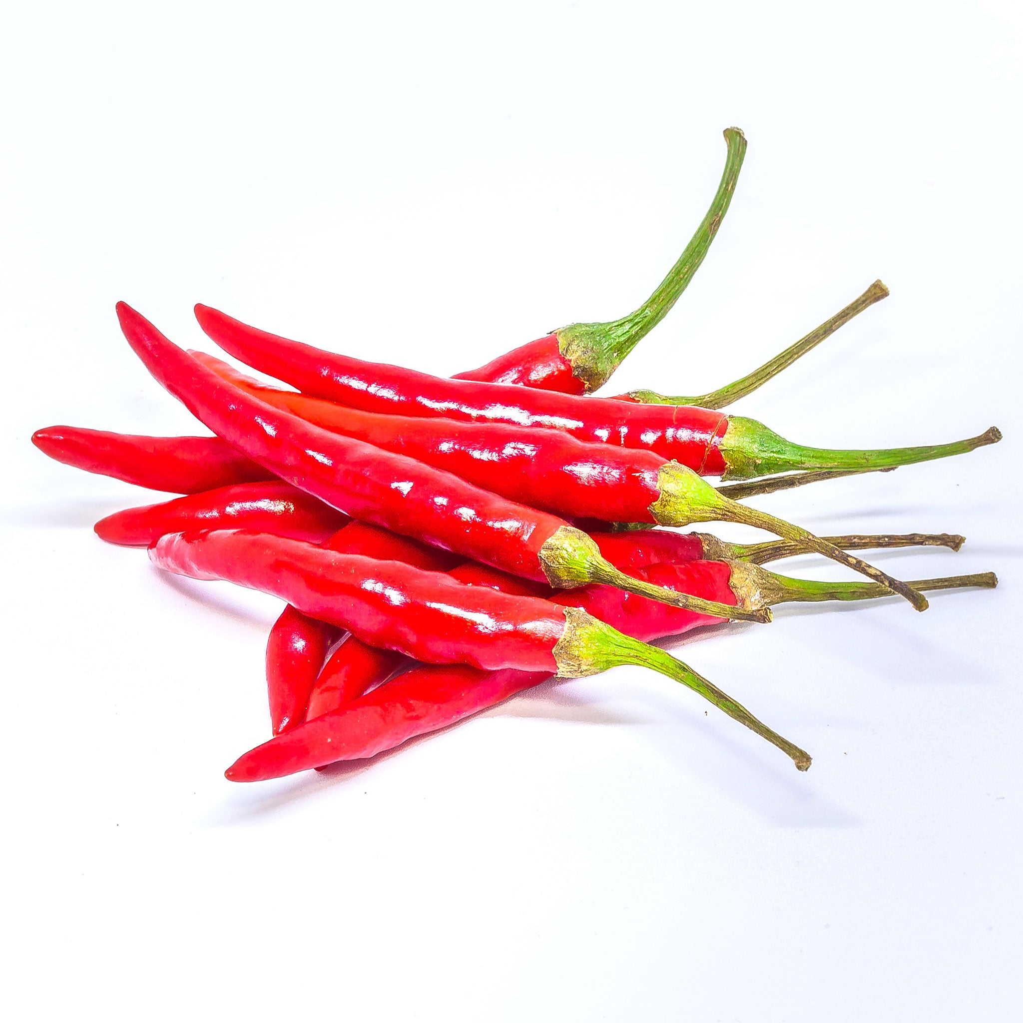Fresh small Thai red chillies (peppers) imported weekly from Thailand