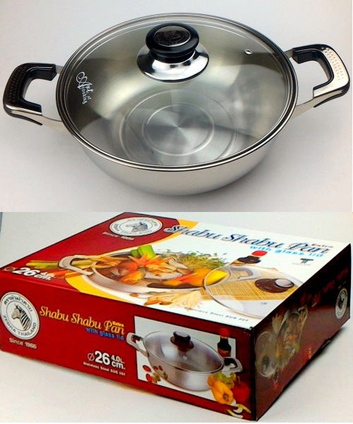 SHABU PAN (WITH GLASS LID) 26CM BY ZEBRA