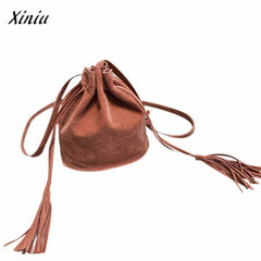 Xiniu Women Bag Scrub Tassel Shoulder bags Womens Messenger Bags Ladies Pumping belt Crossbody Bag