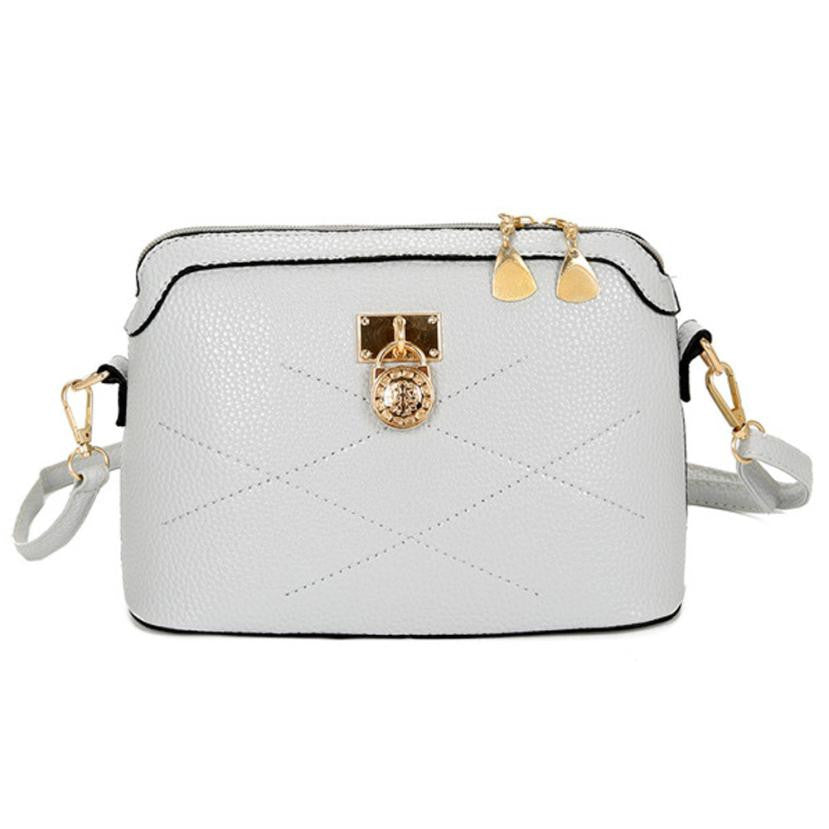 Leather White and Golden Bag