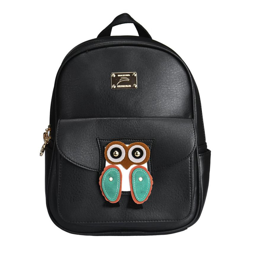 Leather Owl Fashion Women Backpack
