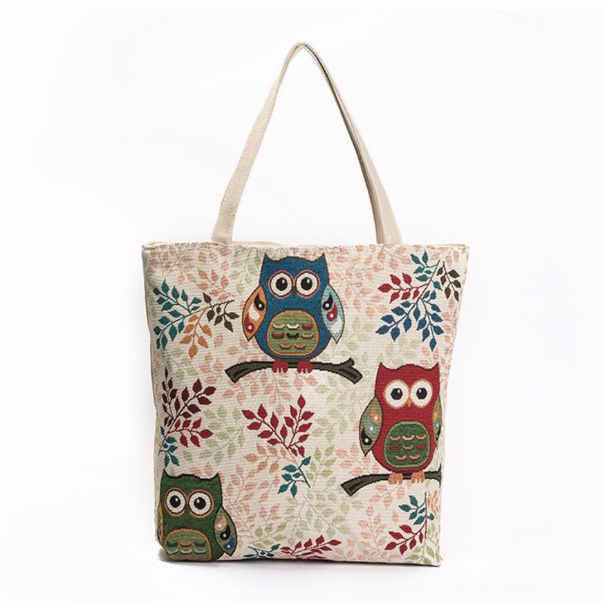 Owl Printed Canvas Tote Bags