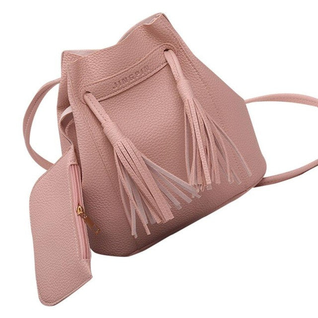 2 pcs Tassels Leather Shoulder Bag
