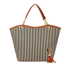 Japan Canvas Stripe Shopping Tote Bag