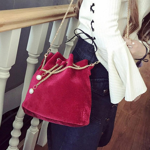 Solid Drawstring Shoulder Bag