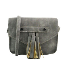 Vintage Tassel Saddle Solid Handbag
