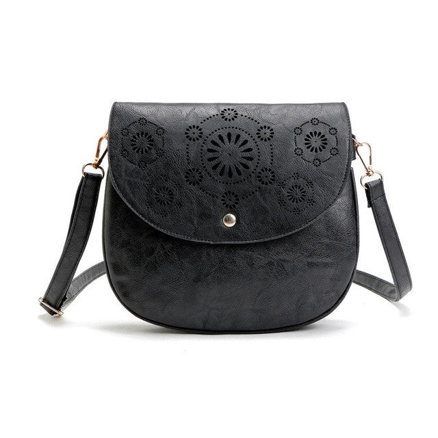Vintage Leather Satchel Hollow Out Handbag