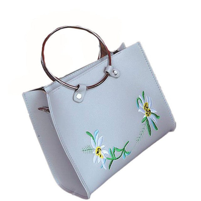 Leather Embroidery Flower tote bags