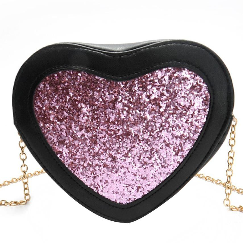 Heart-shaped Sequins women bag