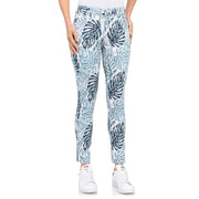 wonderjeans Ankle Slit White Blue Palm Print