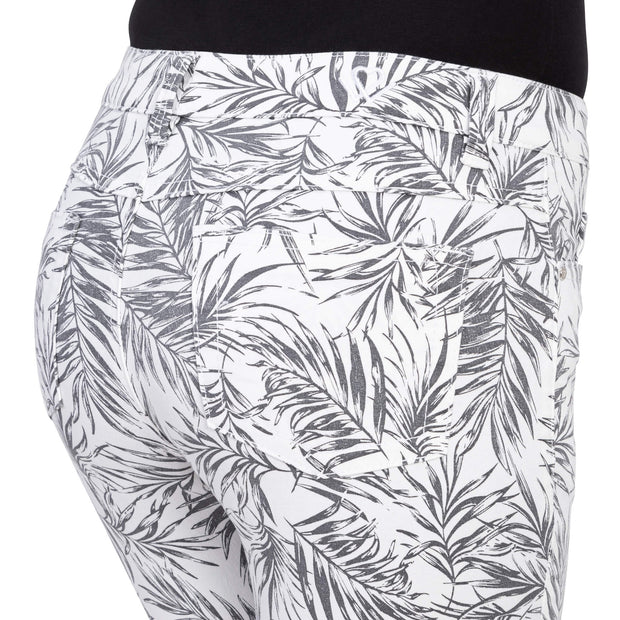 wonderjeans Ankle White Black Leaf Print