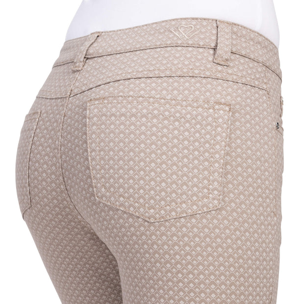 wonderjeans Ankle Taupe White Diamond Print