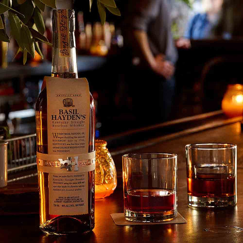 Basil Hayden's Kentucky Bourbon Whiskey in a Bar
