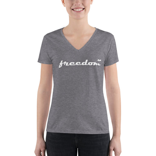 Freedom Fly Away Tee/ Quality Bella Women's Fashion Deep V-neck Tee
