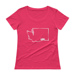 WA Jeep Tee/ Anvil Ladies Sheer Scoopneck T-Shirt with Tear Away Label