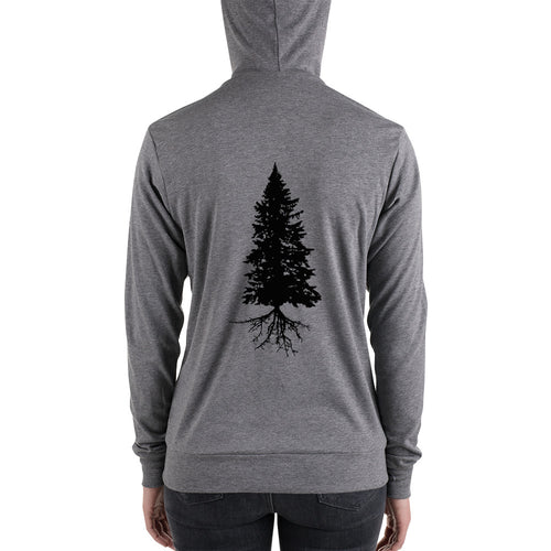 Fir tree back design/ Unisex zip hoodie