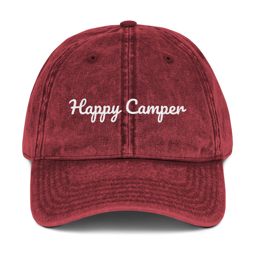 Happy Camper Vintage Cotton Twill Cap available in multiple colors