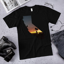 Load image into Gallery viewer, California beach palm tree sunset photo premium unisex t-shirt (available in multiple colors)