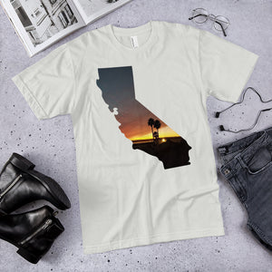 California beach palm tree sunset photo premium unisex t-shirt (available in multiple colors)