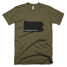 Load image into Gallery viewer, Pennsylvania Premium Short Sleeve Unisex T-Shirt - State Name Collection (available in multiple colors)