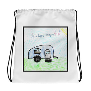 Be A Happy Camper Drawstring bag