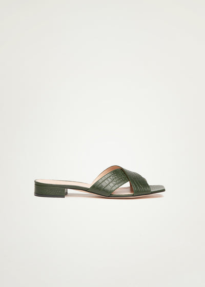 Imani Flats in green croco optic in larger sizes for women in side view
