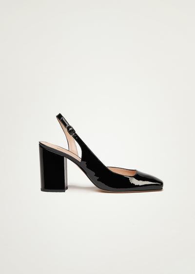 Lilou Pumps in black patent leather in large sizes for women in side view