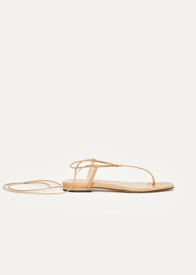 Fleur Sandals in beige leather in larger sizes for women in side view