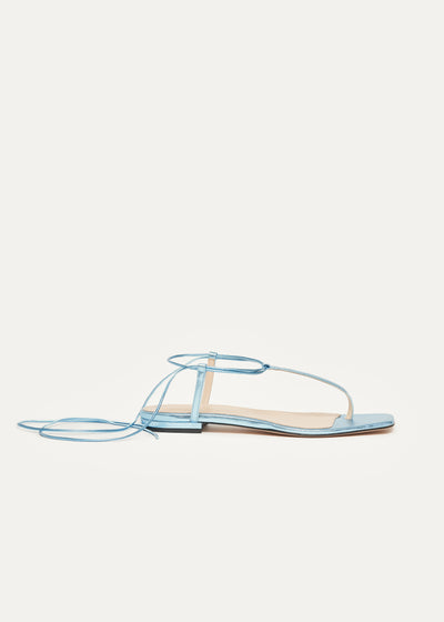 Fleur Sandals in blue metallic leather in larger sizes for women in side view