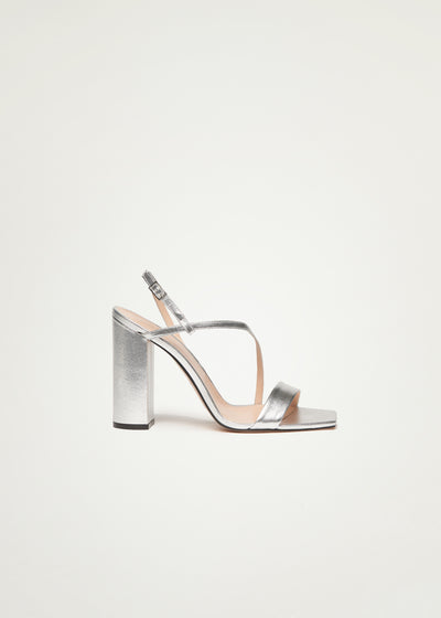 Kaia Sandals in silver laminato leather in large sizes for women in side view