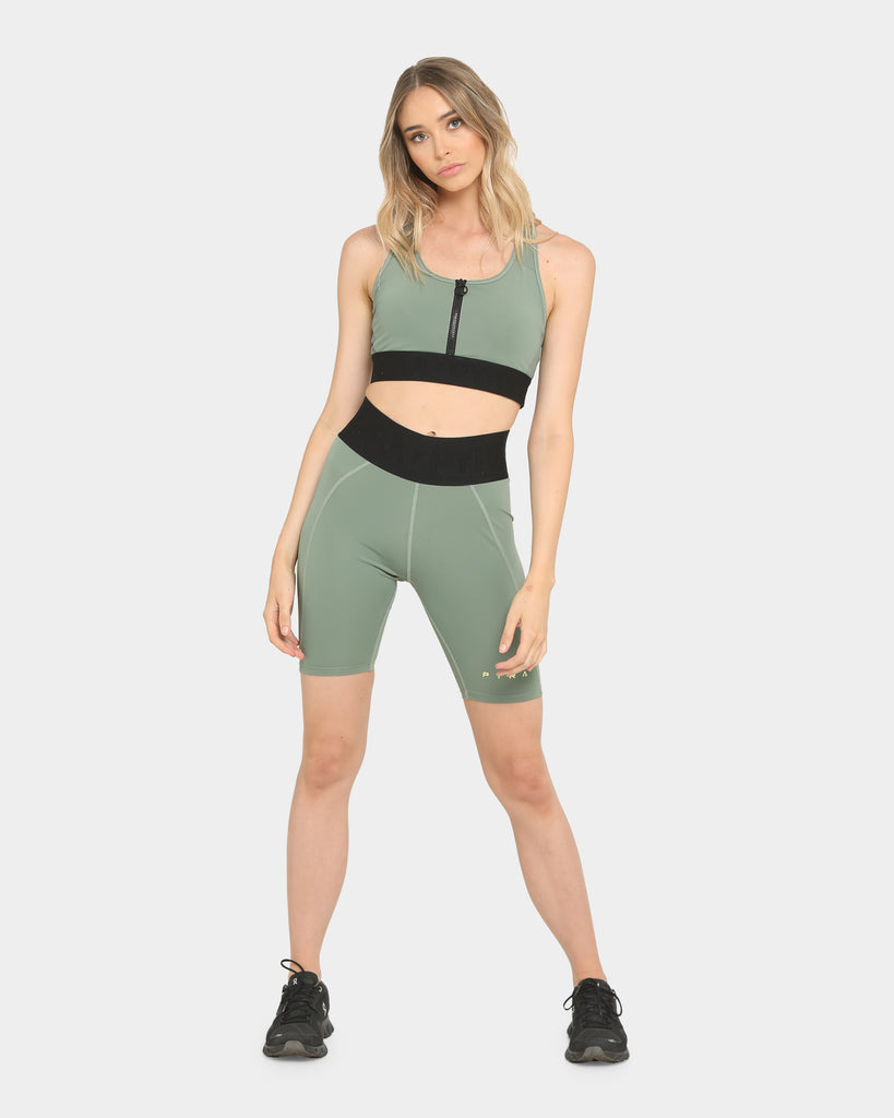 Pyra Women's Altitude Zip Sports Crop Olive Green
