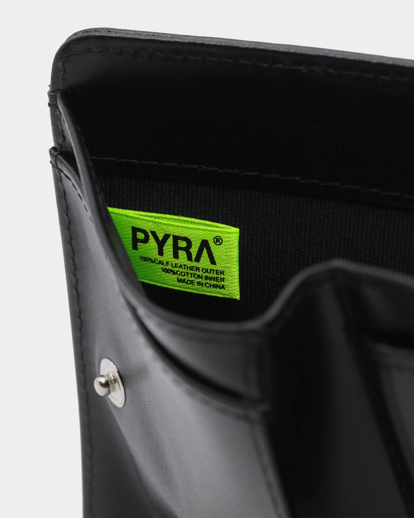 PYRA Leather Zip Wallet Black Leather
