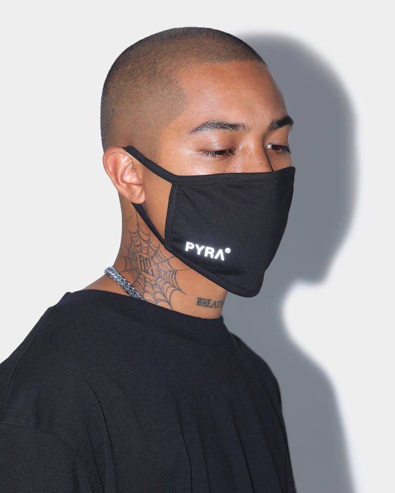 PYRA Reflective Logo Triple Layer Face Mask Black/3M