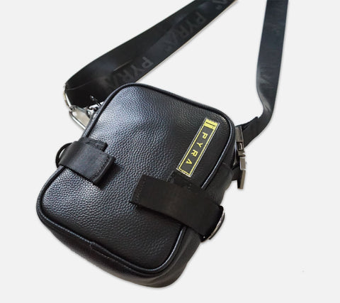PYRA Leather Cross Body Bag Black