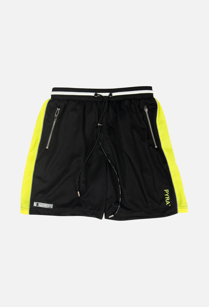 PYRA Mesh Gym Short Black Neon
