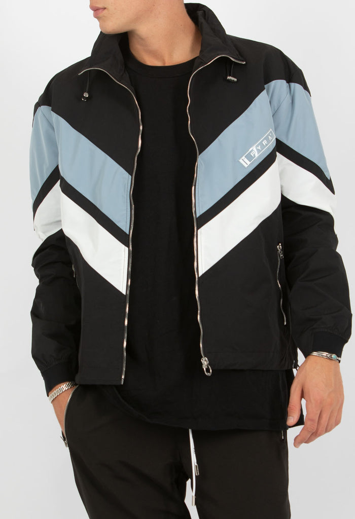 PYRA Stripe Nylon Windbreaker Black/Ocean