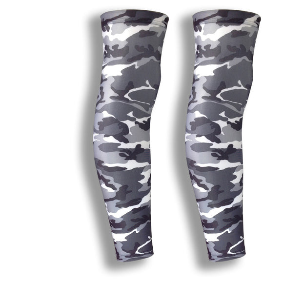 grey camo cycling leg covers