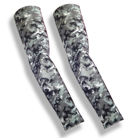 Grey Digital Camo Pattern Full Arm Sleeves