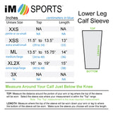 iM Sports GAZELLE Grey Compression Running Calf Sleeves SIZE CHART
