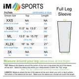 size chart for circuit im sports leg sleeves