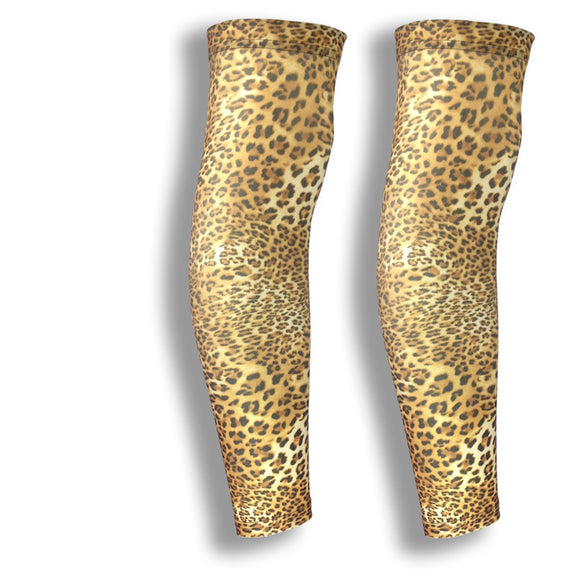 leopard pattern leg cycling sleeves