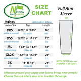 full arm size chart for golf arm sleeves